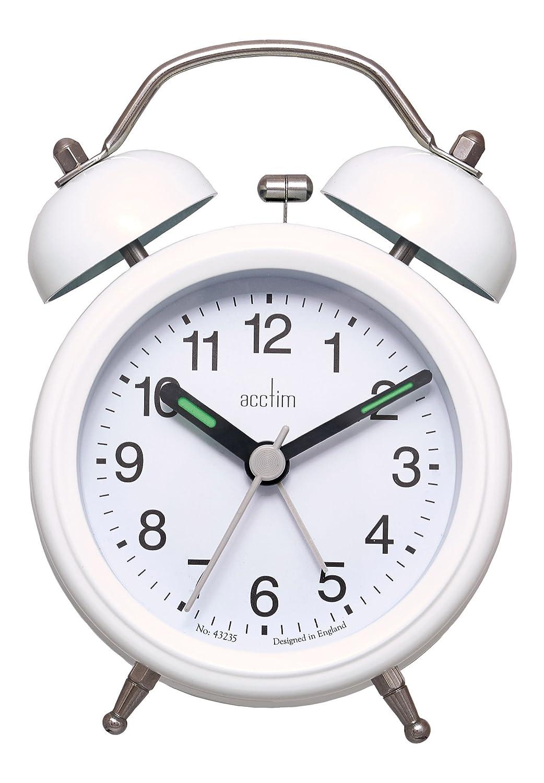 Acctim 14612 Evie Double Bell Alarm Clock, White