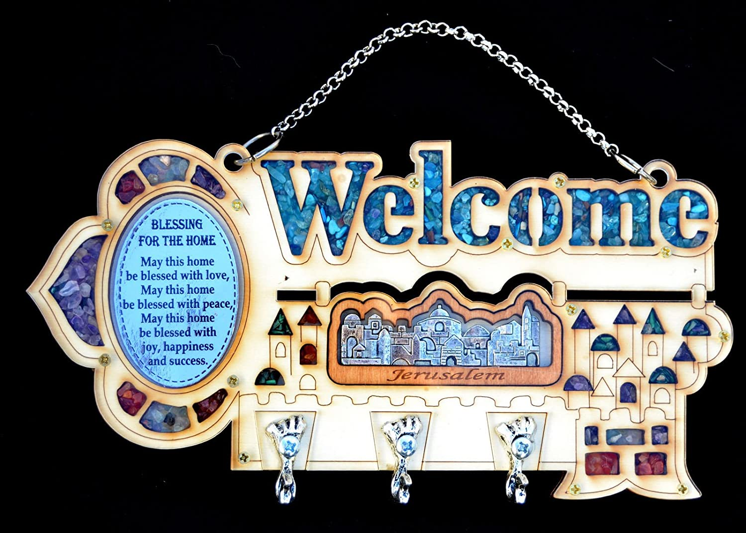 Wood Wall Welcome Key Holder/rack & Home Blessing Jerusalem Birthstones English