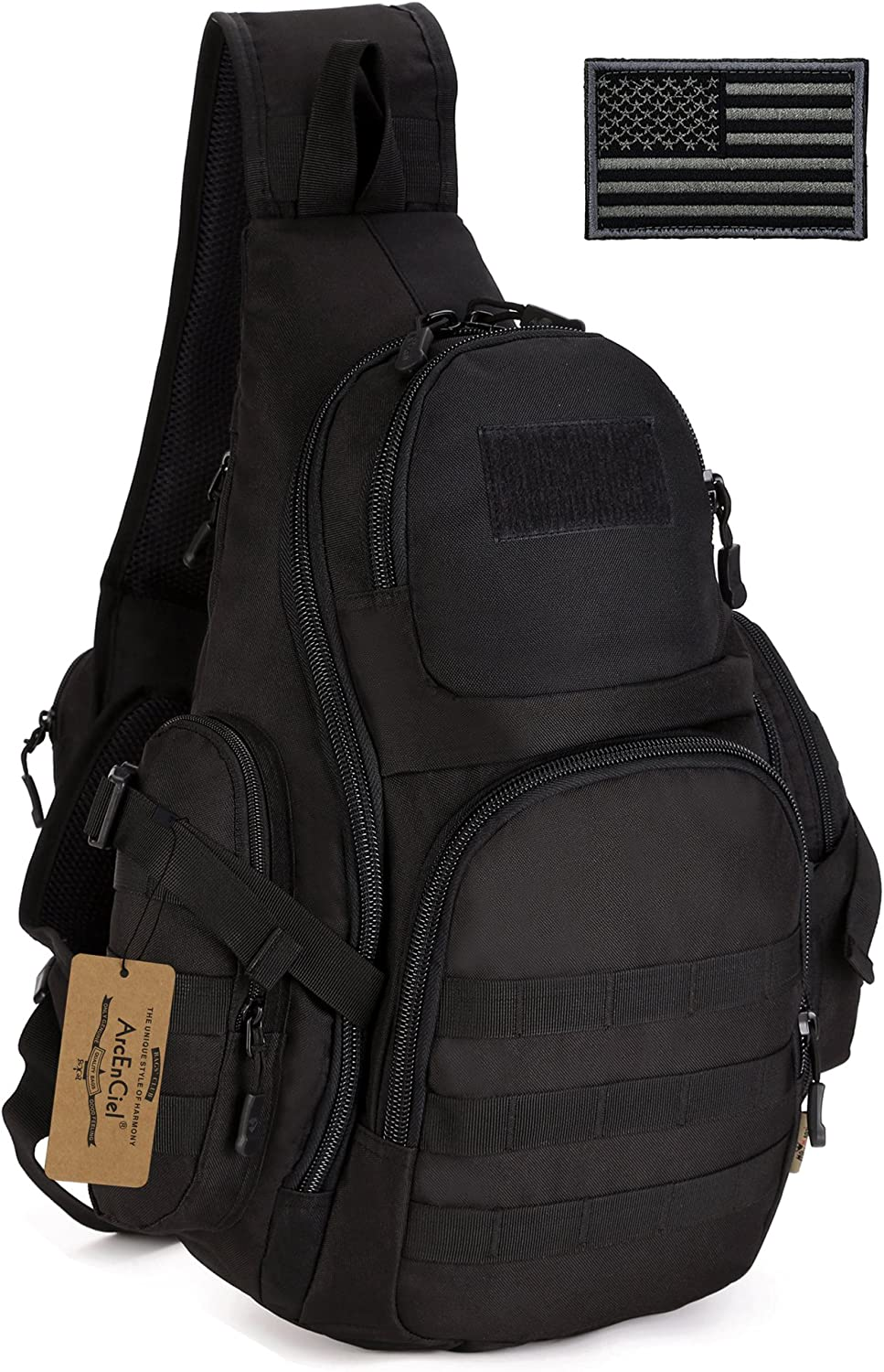 ArcEnCiel Tactical Sling Pack Military Molle Chest Crossbody Shoulder Bags with Patch