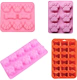 PopBlossom 4 Pack Value Set Silicone Molds Trays with Paw Print and Pet Bone, Homemade Dog Treats, Baking Chocolate Candy, Oven Microwave Freezer Safe
