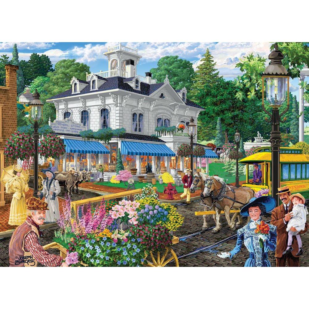 Bits and Pieces - 1500 Piece Jigsaw Puzzle - Victorian Spring, Busy Town Center - by Artist Joseph Burgess - 1500 pc Jigsaw