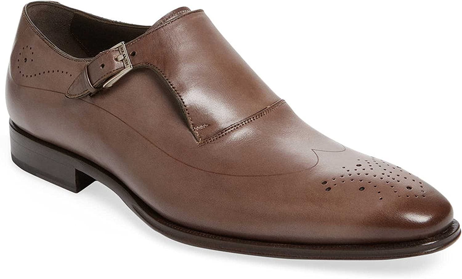 Mezlan Serna Laser-Cut Wingtip Monkstrap Taupe Leather Oxfords Mens Size 10