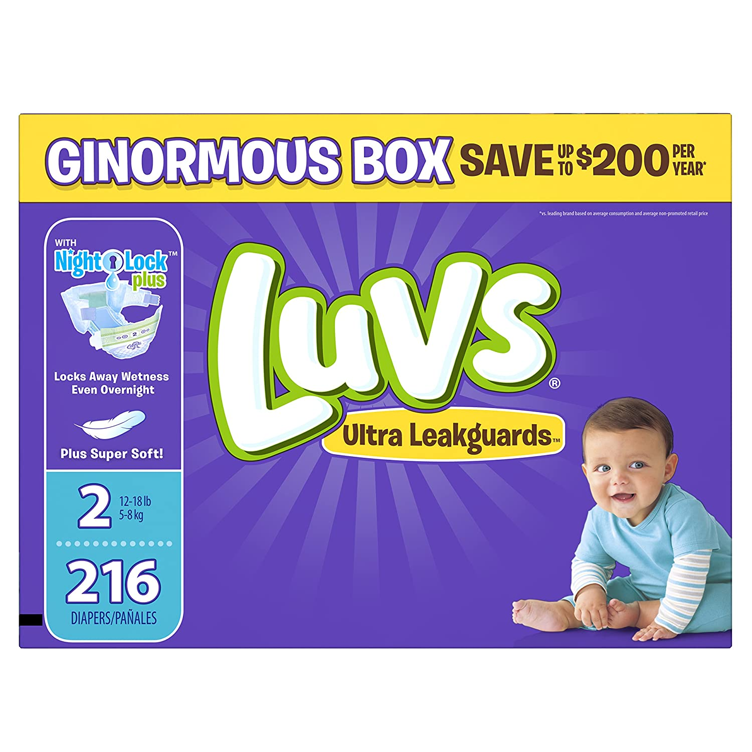Luvs Ultra Leakguards Disposable Diapers Size 2, 216 Count, One Month Supply by Luvs