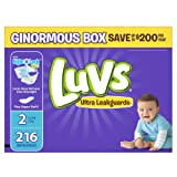 Amazon Price History for:Luvs Ultra Leakguards Diapers, Size 2, 216 Count