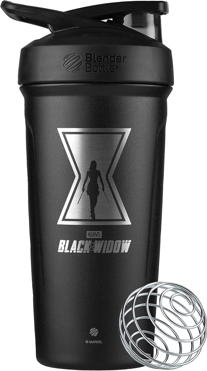 BlenderBottle Strada Shaker Cup Insulated Stainless Steel Water Bottle with Wire Whisk, 24-Ounce, Black Widow