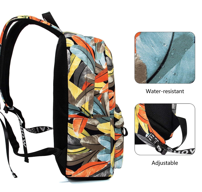 TOPERIN Fashion Leaves Backpack Daypack Travel Bag Satchel Handbag Leaves-Blue 2