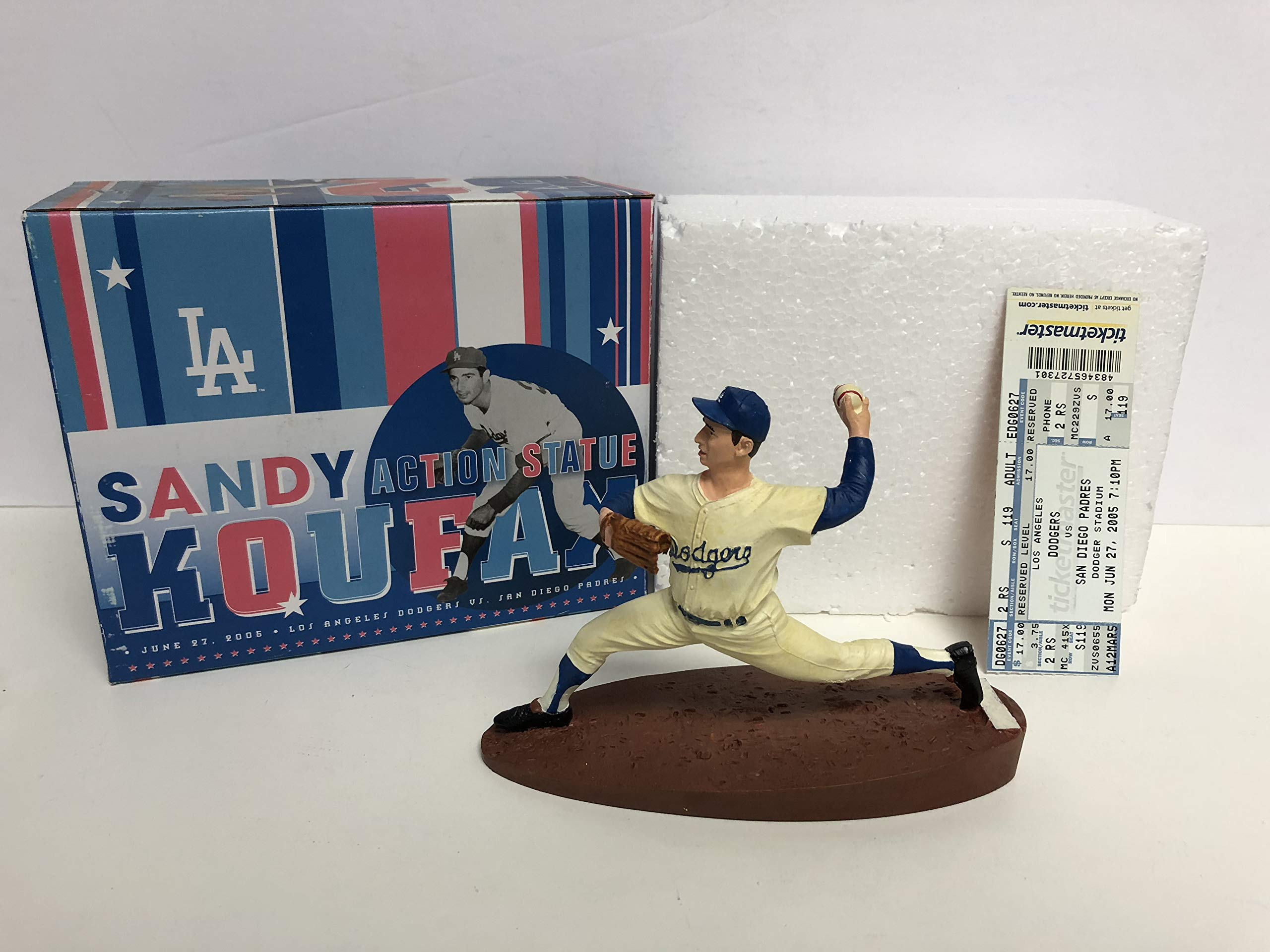 Sandy Koufax 2005 Los Angeles Dodgers Statue Figurine SGA with Game Ticket Stub