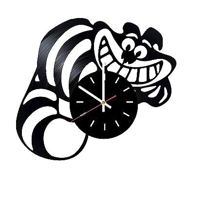 Amazon.com: Reloj de pared de vinilo hecho a mano para gato ...