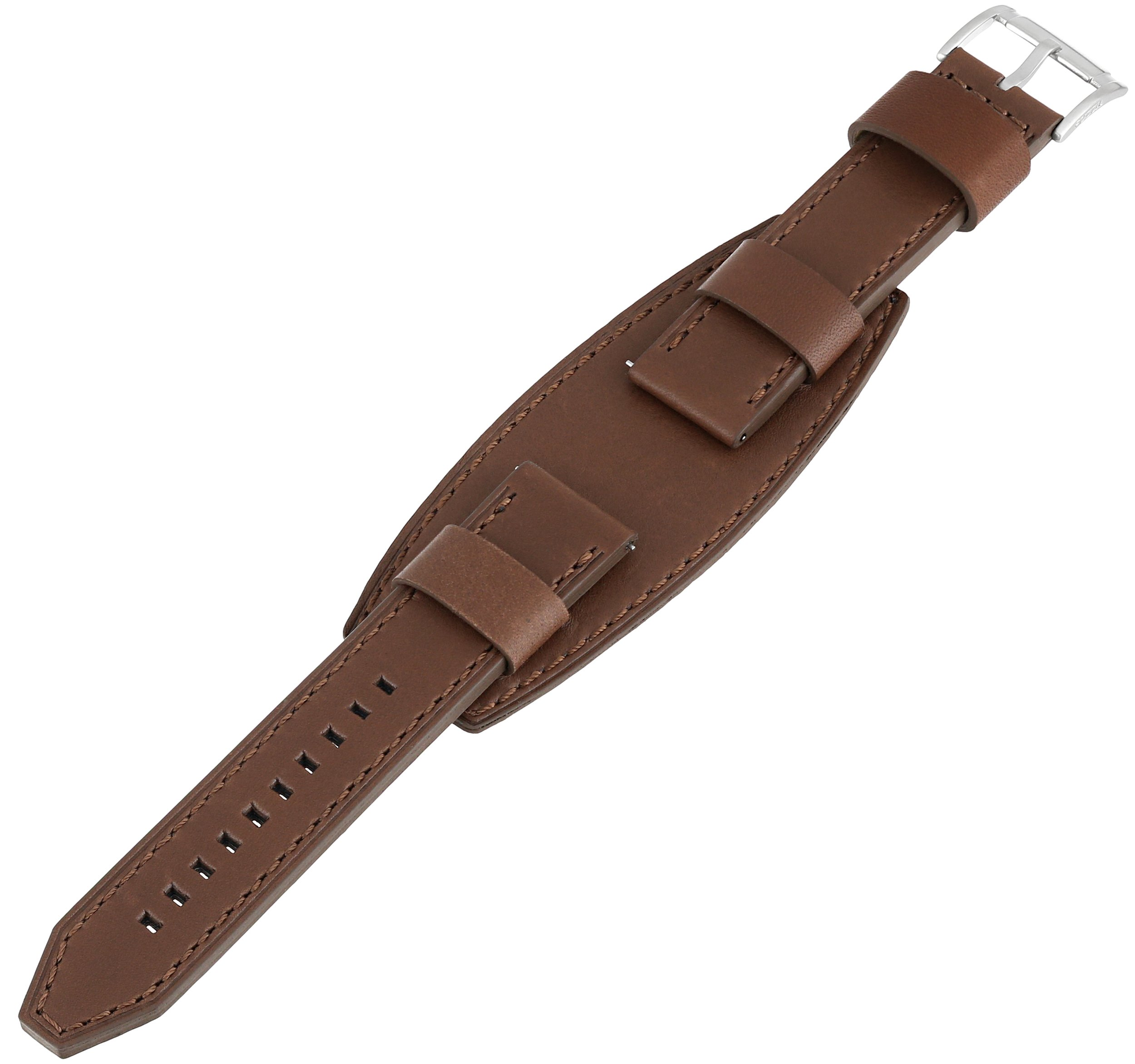 Fossil Men's S221062 Heirloom 22mm Leather Watch Strap - Brown