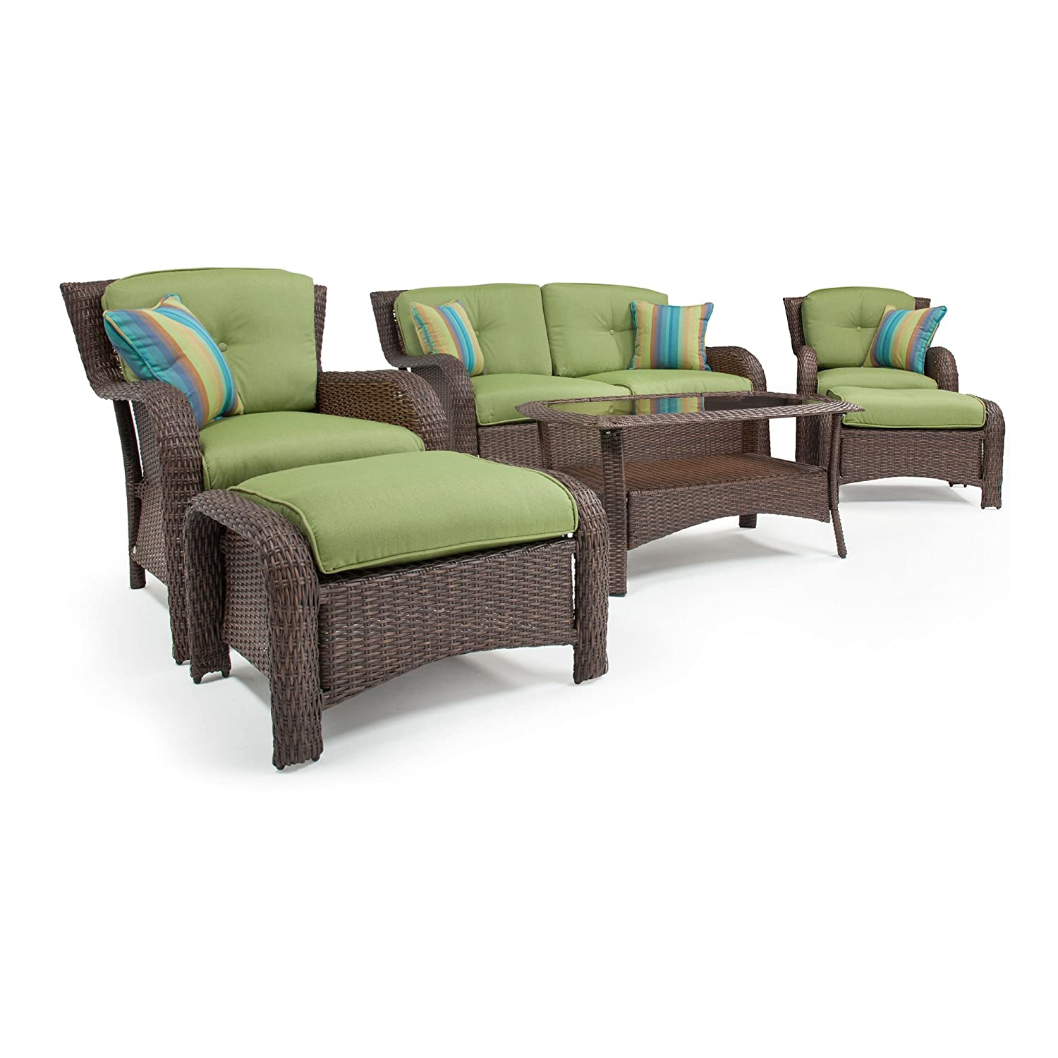 La-Z-Boy Outdoor Sawyer 6 Piece Resin Wicker Patio Furniture Conversation  Set (Cilantro Green) With All Weather Sunbrella Cushions - La-Z-Boy Outdoor Sawyer 6 Piece Resin Wicker Patio Furniture