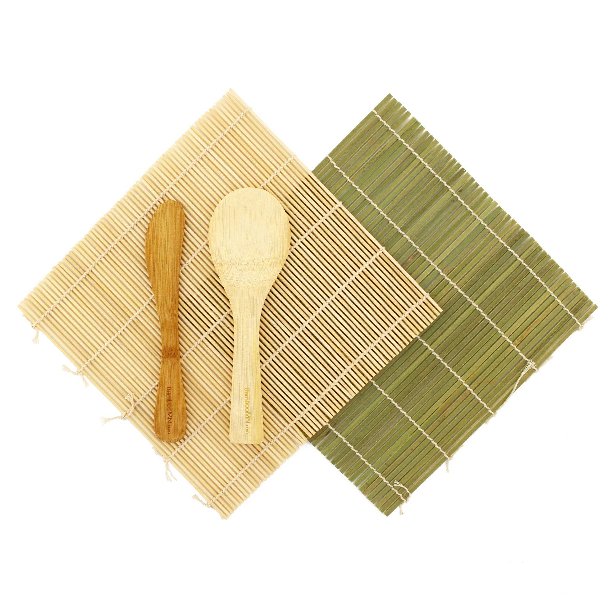 BambooMN Sushi Maker Kit 1x Green 1x Natural Bamboo Rolling Mats, 1x Rice Paddle, 1x Spreader   100% Bamboo Mats and Utensils