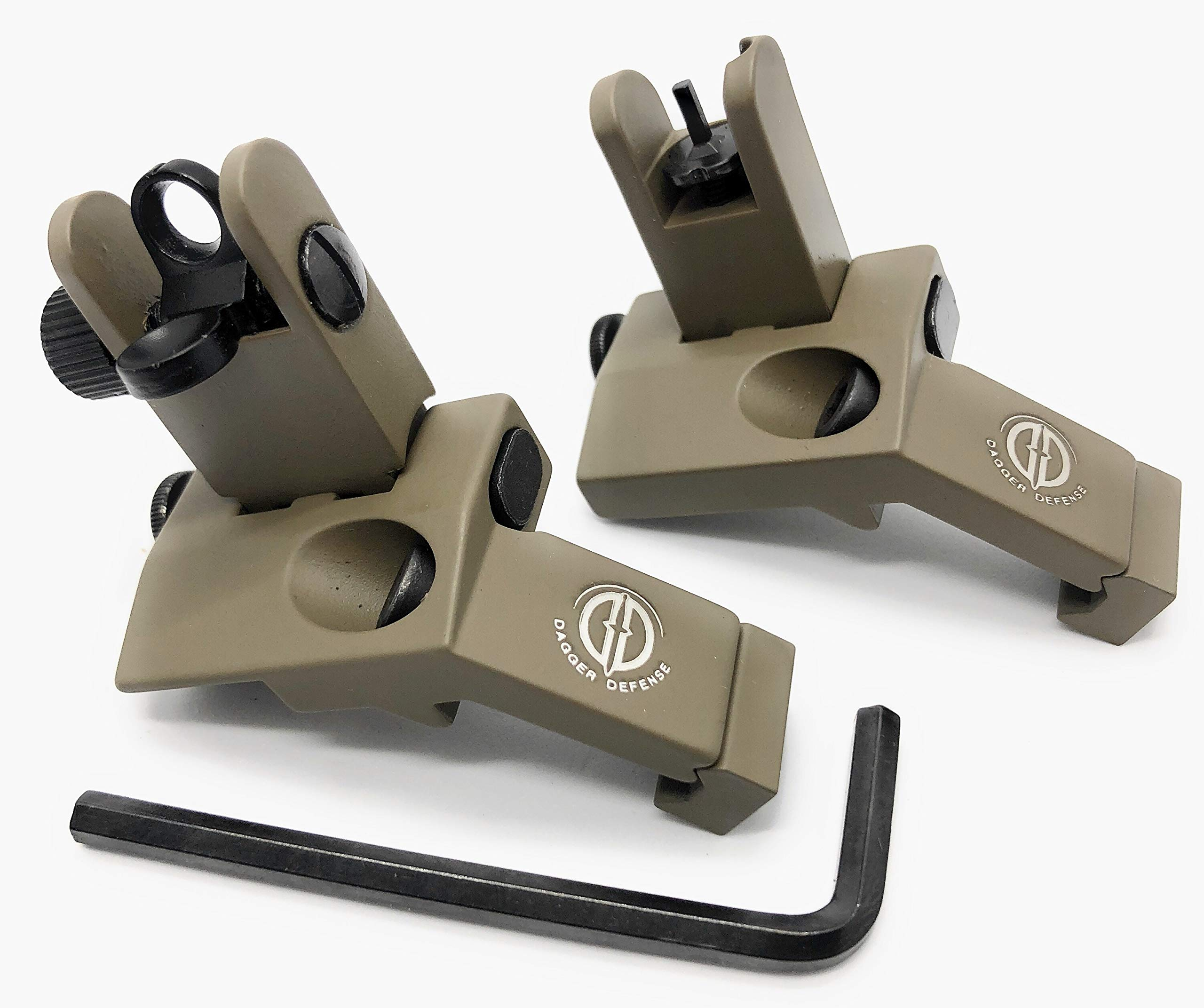 Dagger Defense -Combat Vet Owned Company- flip up BUIS 45 Degree Picatinny Rail Mounted Backup Iron Sights. (tan) by Dagger Defense