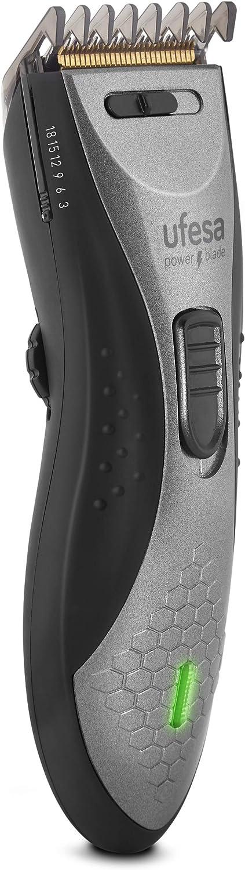 Ufesa CP6550, Máquina de Cortar Pelo, Recargable, uso con o sin cable, autonomía 45min, Cuchilla extraíble y lavable de inox/titanio, Función vaciado, 2 peines guía