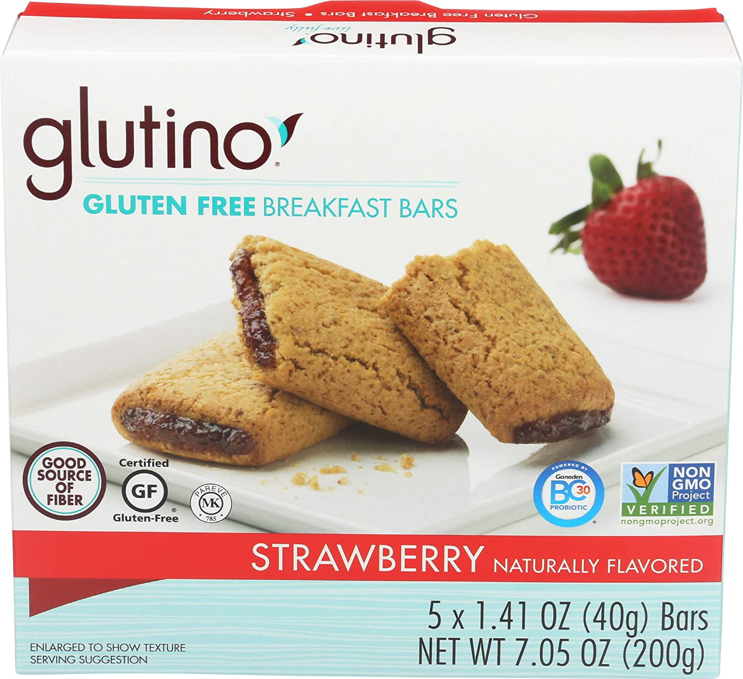 Glutino, Bar Breakfast Strawberry Box, 5 Count, 1.41 Ounce