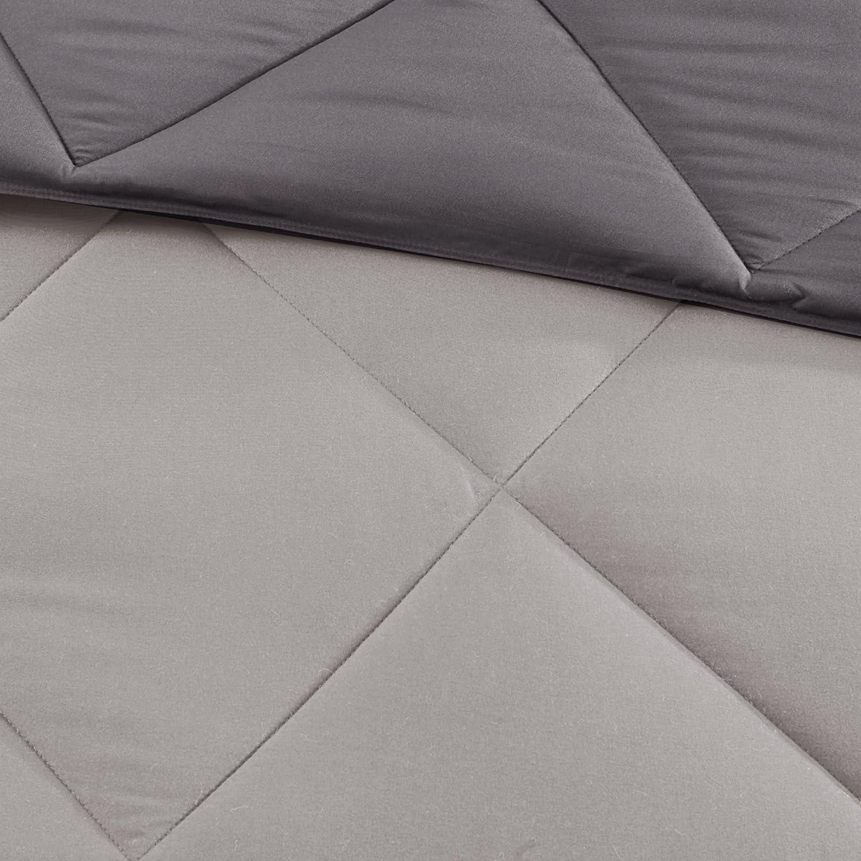 Madison Park Larkspur 3M Scotchgard Diamond Quilting Reversible Down Alternative Comforter Set Red//Navy King Madison Park Essentials MPE10-613