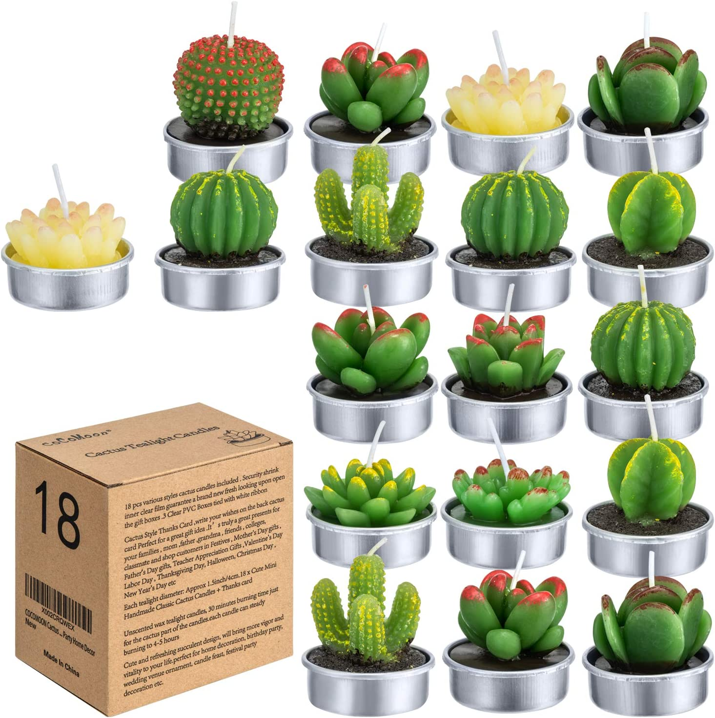 Cactus Tealight Candles(18 Pcs Gift Boxed), Artificial Succulents Decorative Tea Light Candles,Perfect for Birthday Wedding Party Home Decor