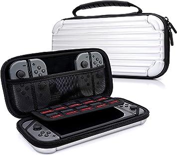 MyGadget Funda para Nintendo Switch - Estuche de Viaje Rígido Duro - Maletín Resistente con Bolsillos Para Accesorios, Juegos y Console - Plateado: Amazon.es: Videojuegos