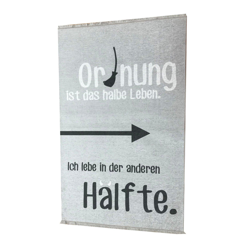 your castle Teppich Jugendzimmer Kinderzimmer grau//wei/ß witziger Spruch 160 x 100 cm /öko Zertifiziert