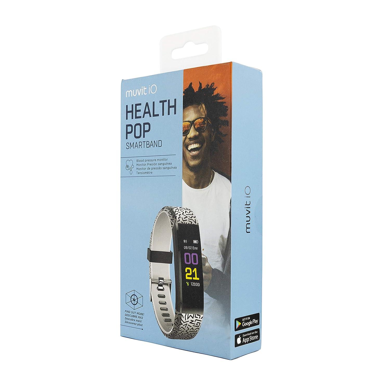 Muvit iO Pulsera de Actividad y Salud Health Pop Forms Negro//Blanco