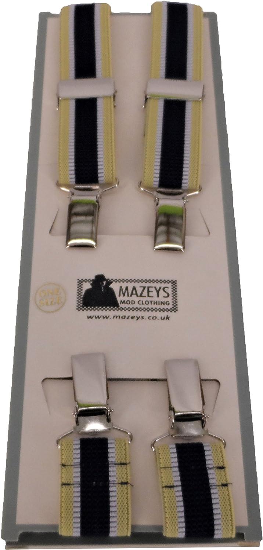 Mazeys Mens Made in England One Inch 25 MM Burgundy Braces