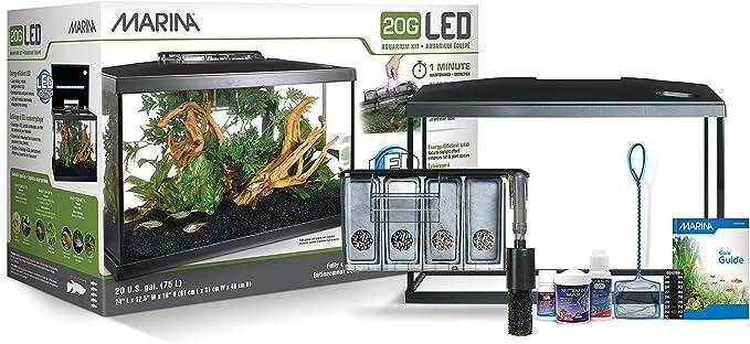 Marina - Kit de Acuario con Iluminación LED 20G, 75 L, 61.4 x 32.2 x 41.9 cm