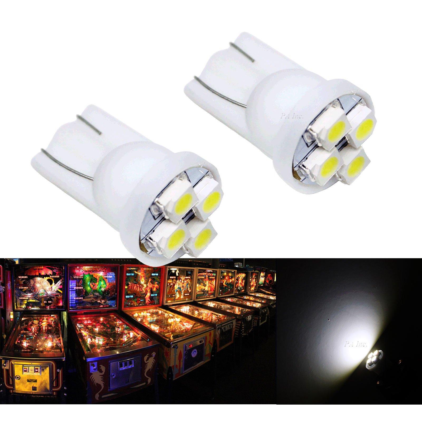 PA 25PCS #555 T10 4SMD LED Pinball Machine Light Bulb White-6.3V by PA