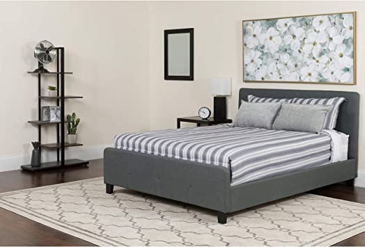 Amazon Com Flash Furniture Tribeca King Size Tufted Upholstered Platform Bed In Dark Gray Fabric Furniture Decor