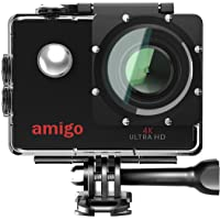 Amigo AC-40 4K Sports Action Camera with 16MP High Resolution with WiFi | 4K Ultra HD (@30fps) Video Recording with 120 Degree Wide Angle Lens and Waterproof Upto 30 Meters (Black)