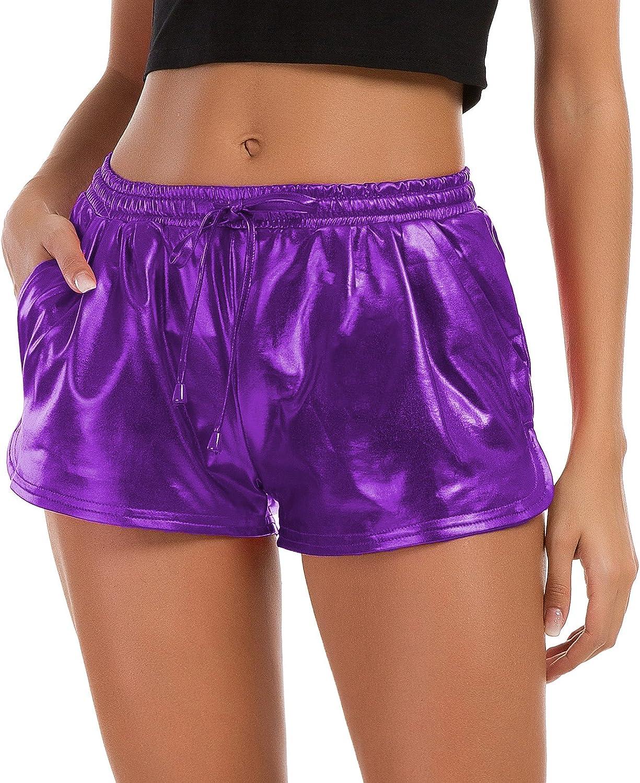 Tandisk Women's Yoga Hot Shorts, Shiny Metallic Pants with Elastic Drawstring