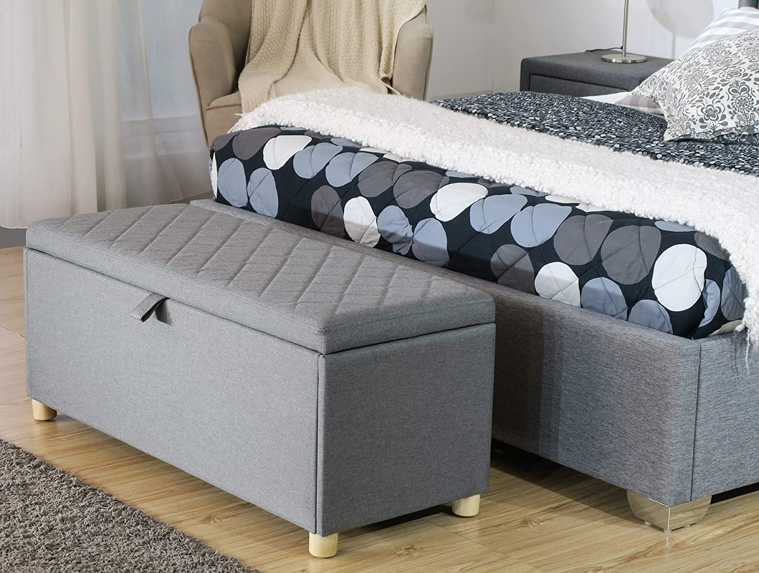 Cool Bfw Large Grey Fabric Ottoman Storage Chest Bedding Box Luxury Quilted Gas Lift Lid W 130Cm D 40Cm H 43Cm Gmtry Best Dining Table And Chair Ideas Images Gmtryco