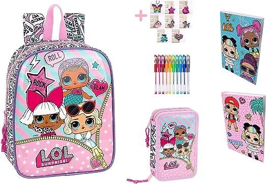 Mini mochila Asilo Lol Surprise + Estuche con 2 cremalleras completo + Diario + Llavero + 10 bolígrafos de colores: Amazon.es: Oficina y papelería