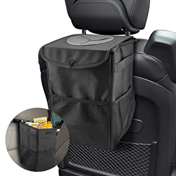 Car Trash Bag Hanging for Headrest with 3 Storage Pockets Willnorn Car Trash Bin with Lid 100/% Leak-Proof Vinyl Inside Lining Portable Car Accessories Organizer