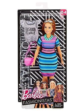 6116e0bc81344 Mattel Barbie FJF69 Barbie moda tutkunlarına bebek + modaya uygun hediye  seti renkli çizgili T-