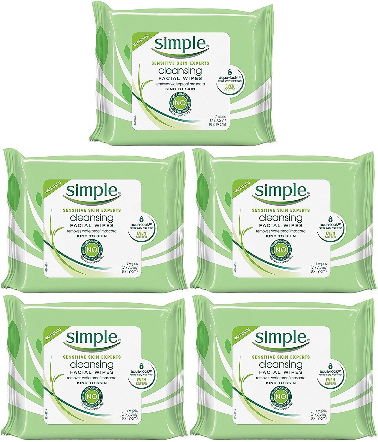 Simple Kind To Skin Cleansing Facial Wipes, Travel Pack, 7-Count (Pack of 5)