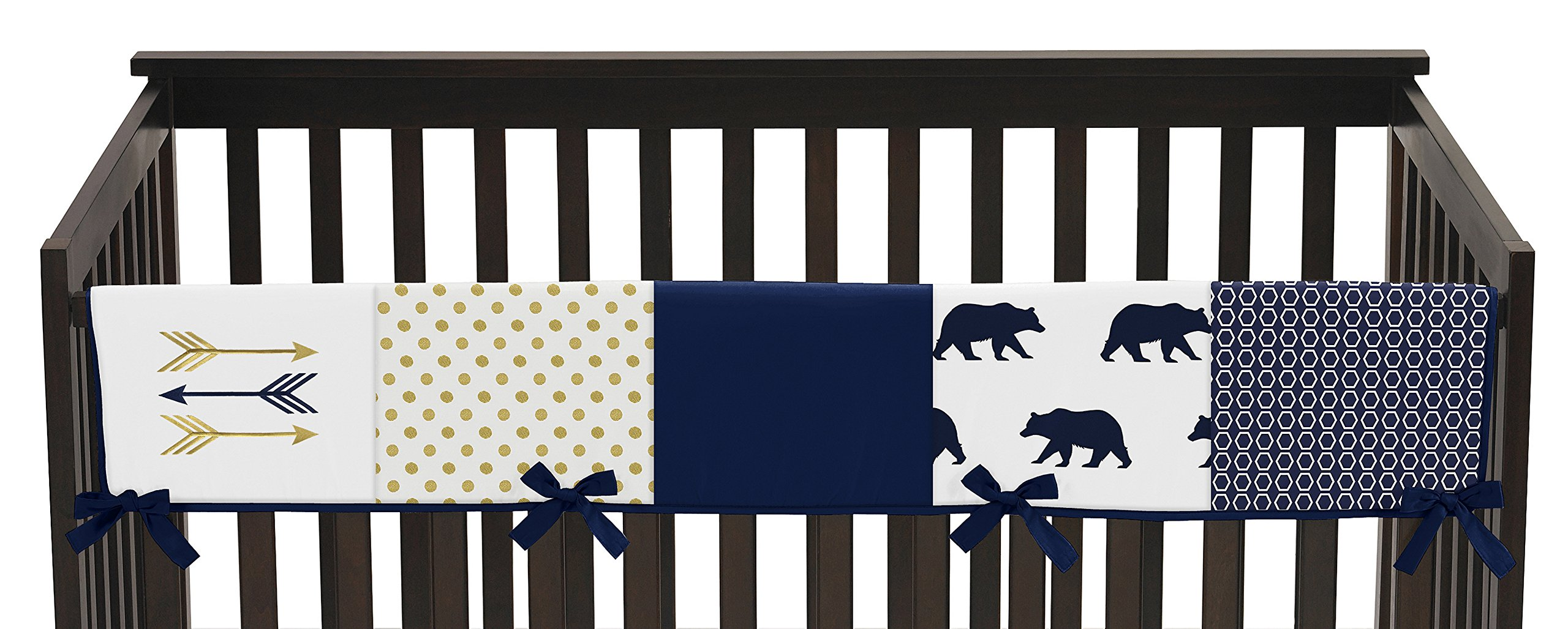 Sweet Jojo Designs Navy Blue Gold and White Big Bear Long Front Crib Rail Guard Baby Teething Cover Protector Wrap