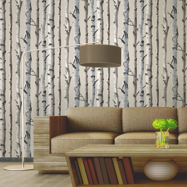 Brewster FD31051 Tapete, Motiv: Birkenbaum, naturfarben: Amazon.de ...