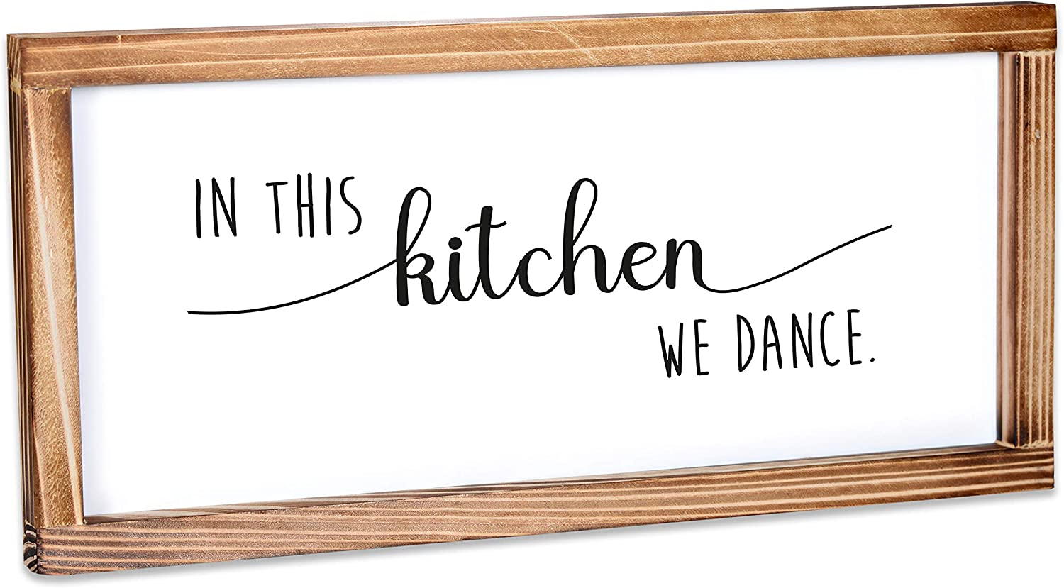 MAINEVENT in This Kitchen We Dance Sign - Funny Kitchen Sign - Farmhouse Kitchen Decor, Kitchen Wall Decor, Rustic Home Decor, Country Kitchen Decor with Solid Wood Frame 8x17 Inch