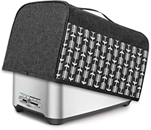 Yarwo 4 Slice Toaster Cover with Pockets and Top Handle, Nylon Toaster Cover Fits for Most 4 Slice Long Slot Toasters, Black with Arrow