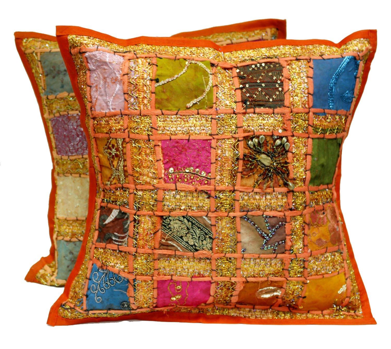 Amazon.com: 17 Orange Embroidery Sequin Patchwork Indian Sari Throw ...