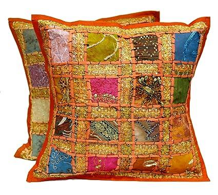 2 color naranja bordado lentejuelas Patchwork Indian Sari ...