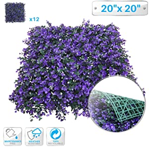 """Patio Paradise 12pcs 20""""x20"""" Artificial Purple Lavender Hedge Panel, Decorative Privacy Fence Screen Greenery Faux Plant Tree Wall for Indoor or Outdoor Garden Décor"""