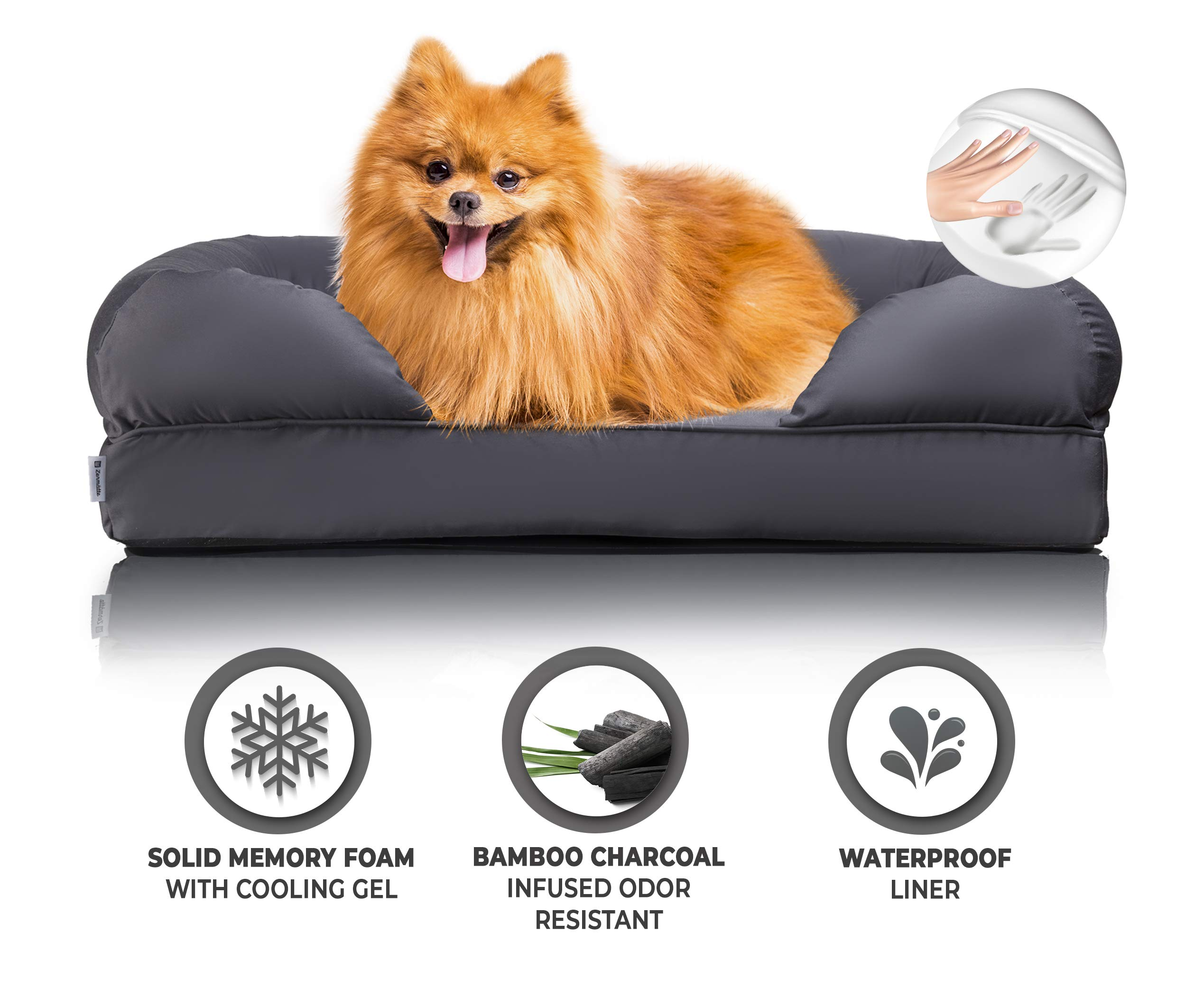Zermätte Orthopedic Dog Bed - Cooling Gel Memory Foam Pillow Mat with Washable Removable Cover, Waterproof Liner Insert, Charcoal Infused Deodorizing Pad & Elevated Design for Small to Large Breeds by Zermätte