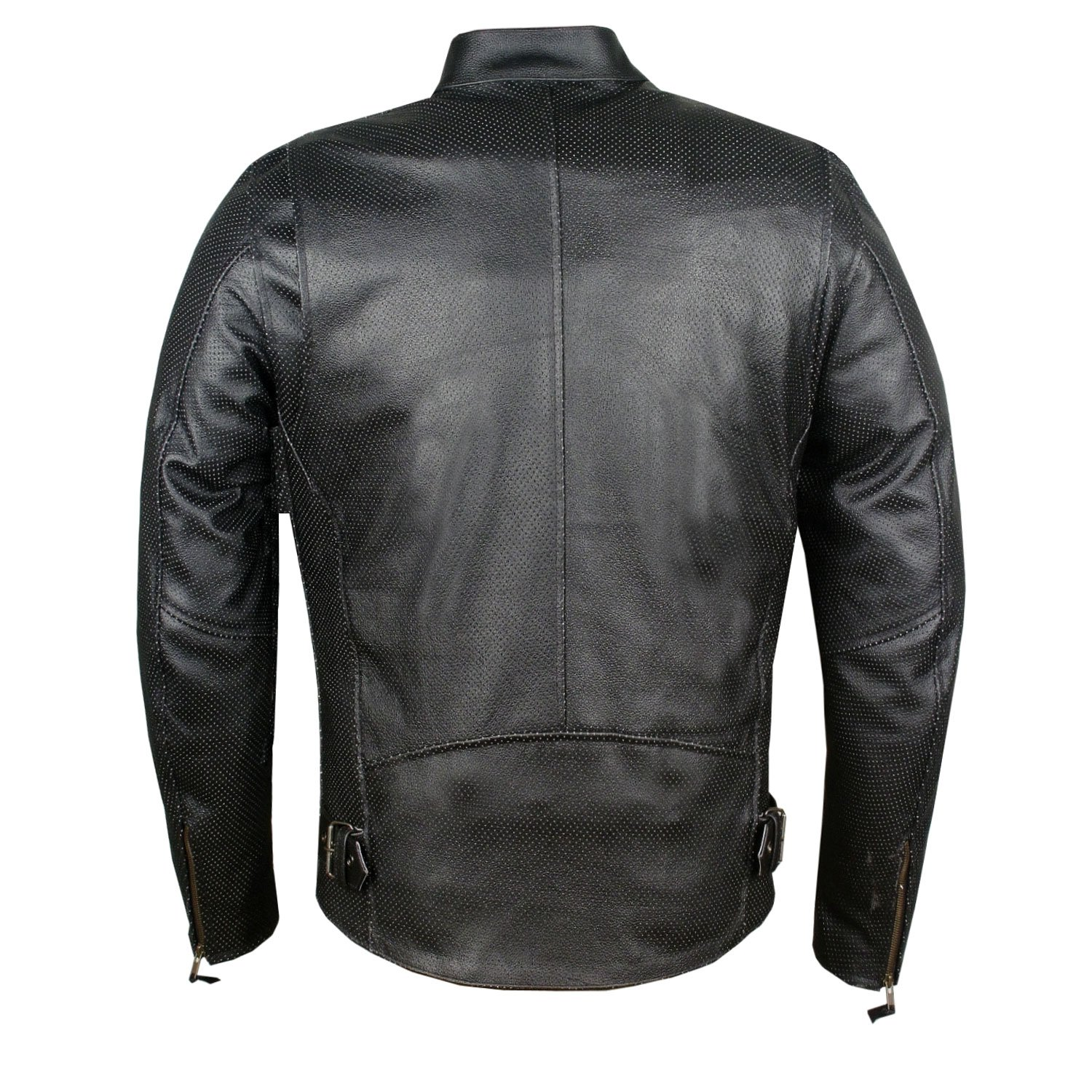 Mens Infinity Airflow Perforated Leather Motorcycle Armor Biker Jacket S