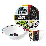 Star Wars 3 Piece Childrens Ceramic Table Dinnerware Set - Plate Bowl and Mug
