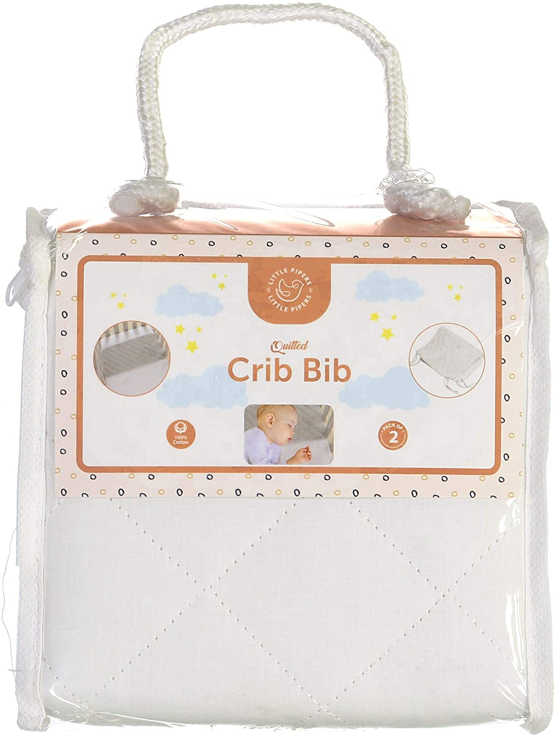 """Abstract Quilted Portable Crib Bib Sheet Saver 24.5"""" X 13"""" (2 Pack, White)"""