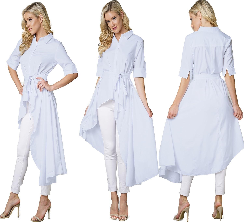 Bodycon4u Womens Button Down White Shirt Dress Maxi Pleated