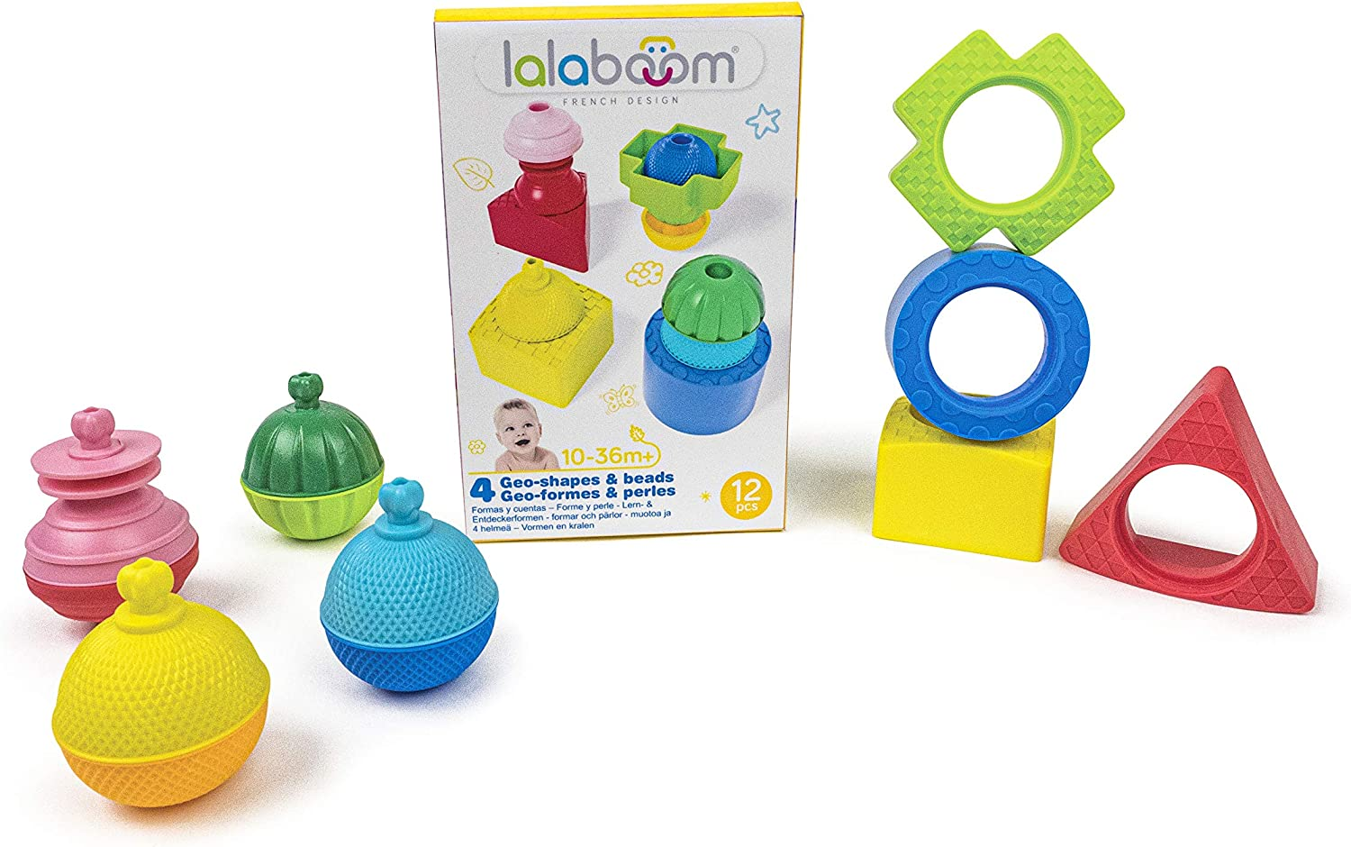 Multicolor 12 Pieces Color and Shapes Construction Game for Children from 10 Months to 2 Years Old First Beads to Assemble Lalaboom BL660 4 Shapes and Educational Beads