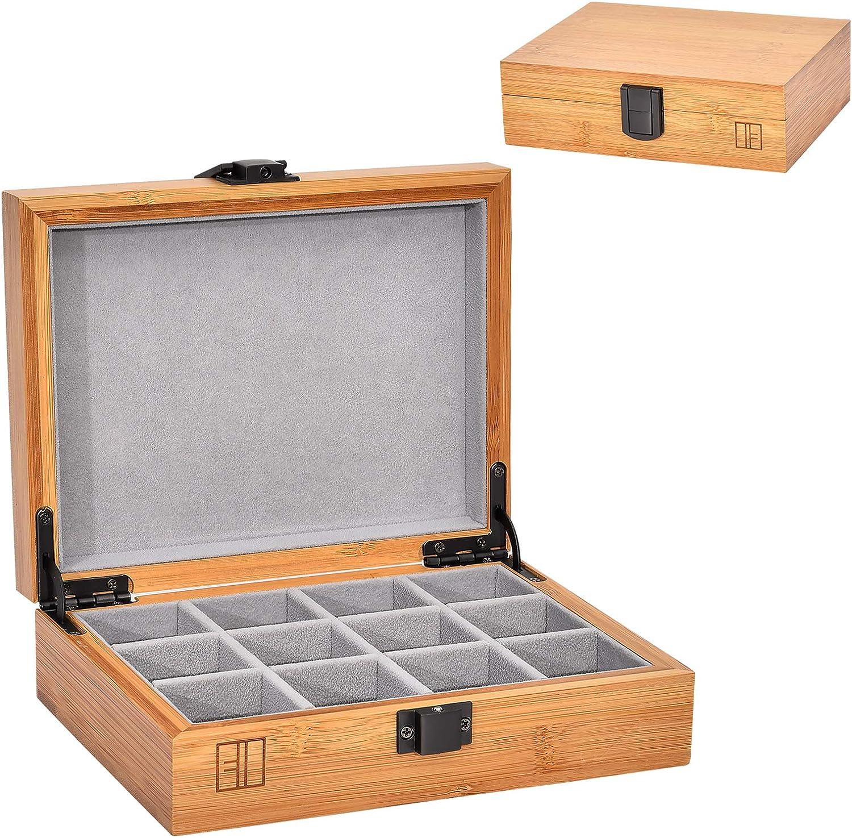 Bambus Holz Schmuck Stand Organizer Boxen Halskette Uhrenhalter Vitrine