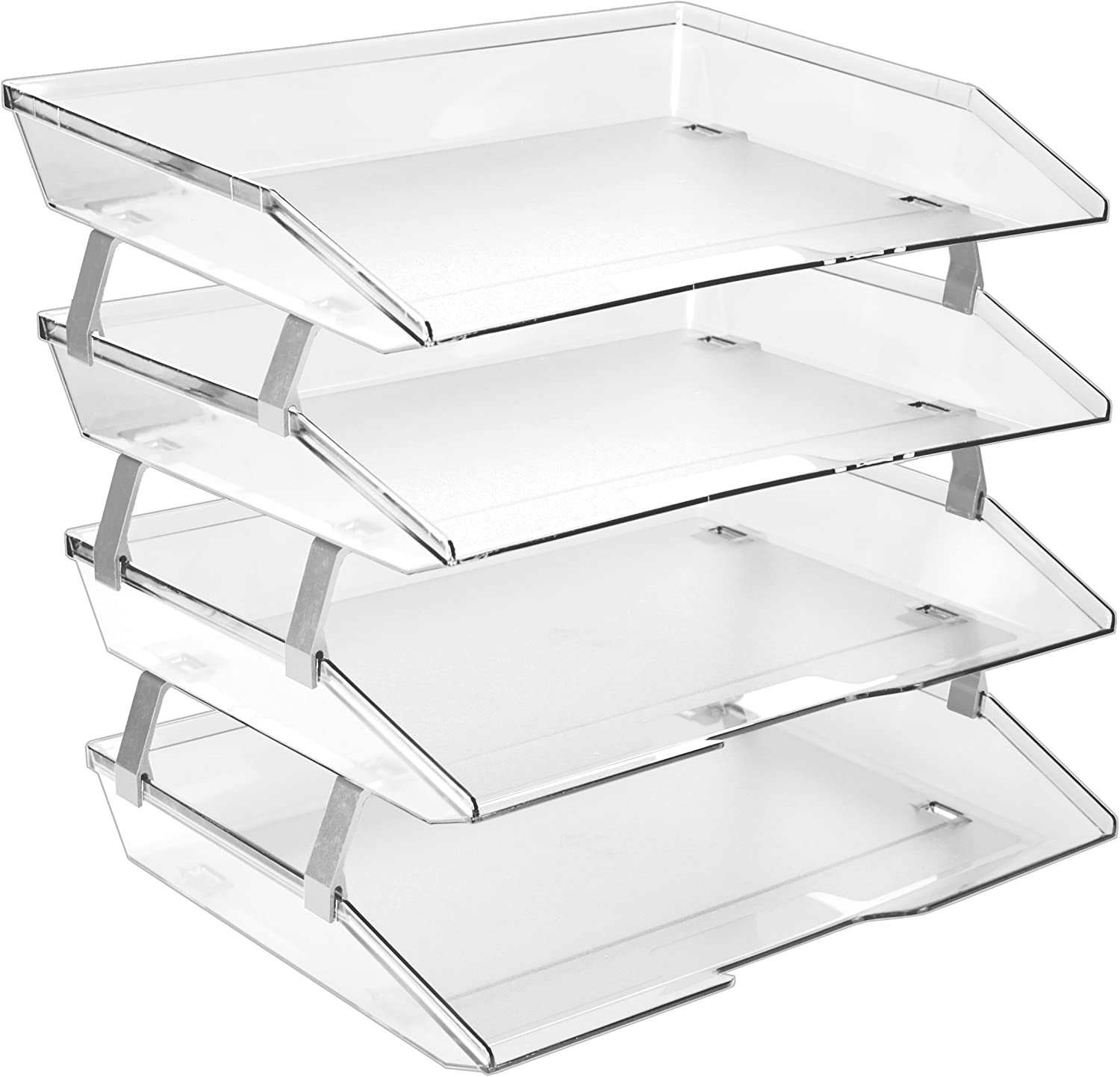 Acrimet Facility 4 Tier Letter Tray Side Load Plastic Desktop File Organizer (Clear Crystal Color)