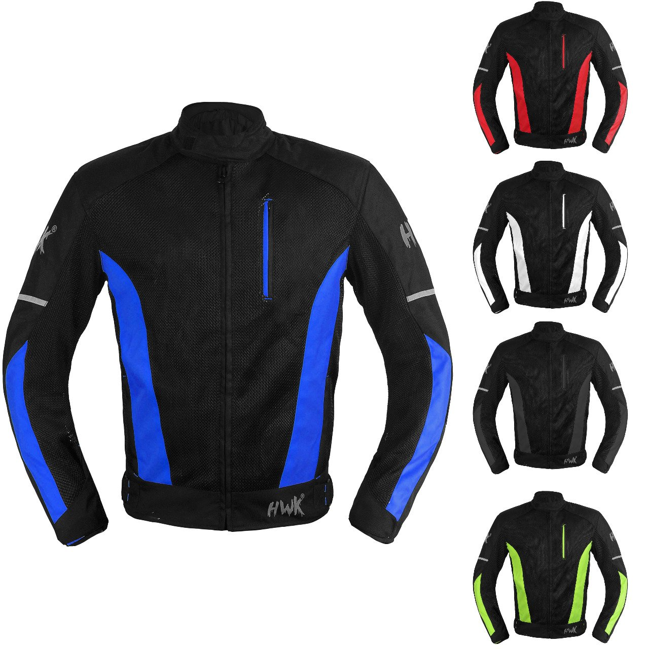 Mesh Motorcycle Jacket Textile Motorbike Summer Biker Air Jacket CE ARMOURED BREATHABLE (Small, Blue) HWK A1
